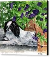 Japanese Chin Puppy And Petunias Canvas Print by Kathleen Sepulveda