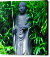 Japanese House Monk Statue Canvas Print by Bill Cannon
