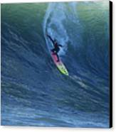 Jay Drops In At Mavericks Canvas Print by Stan and Anne Foster