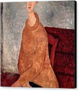 Jeanne Hebuterne In A Yellow Jumper Canvas Print by Amedeo Modigliani