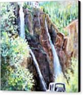 Jeeping At Bridal Falls  Canvas Print by Linda Shackelford