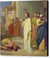 Jesus Healing The Leper Canvas Print by Jean Marie Melchior Doze