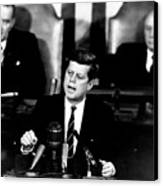 Jfk Announces Moon Landing Mission Canvas Print by War Is Hell Store
