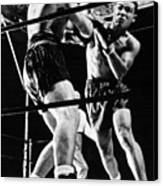 Joe Louis Delivers Knockout Punch Canvas Print by Everett