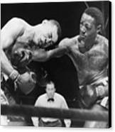 Joe Louis Left, Takes A Hard Right Canvas Print by Everett