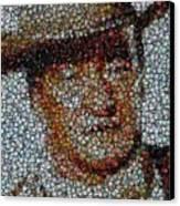 John Wayne Bottle Cap Mosaic Canvas Print by Paul Van Scott