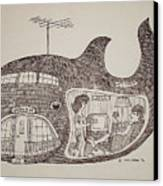 Jonah In His Whale Home. Canvas Print by Fred Jinkins
