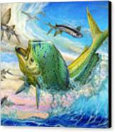 Jumping Mahi Mahi And Flyingfish Canvas Print by Terry Fox