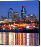 Kansas City Missouri Skyline At Night Canvas Print by Jon Holiday