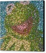 Kermit Mt. Dew Bottle Cap Mosaic Canvas Print by Paul Van Scott