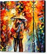 Kiss Under The Rain Canvas Print by Leonid Afremov
