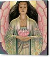 Kuan Yin Pink Lotus Heart Canvas Print by Sue Halstenberg