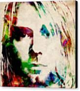 Kurt Cobain Urban Watercolor Canvas Print by Michael Tompsett
