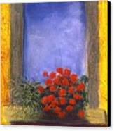 La  Finstra Con  I Fiori Canvas Print by Mary Erbert
