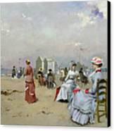 La Plage De Trouville Canvas Print by Paul Rossert