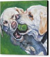 Labrador Retriever Yellow Buddies Canvas Print by Lee Ann Shepard