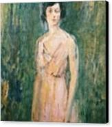 Lady In A Pink Dress Canvas Print by Ambrose McEvoy