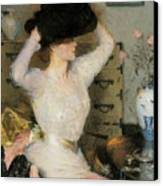 Lady Trying On A Hat Canvas Print by Frank Weston Benson