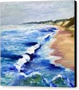Lake Michigan Beach With Whitecaps Canvas Print by Michelle Calkins