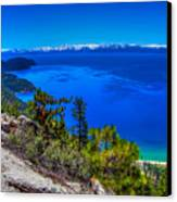 Lake Tahoe From Flume Trail Over Sand Harbor State Park Canvas Print by Scott McGuire