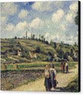 Landscape Near Pontoise Canvas Print by Camille Pissarro