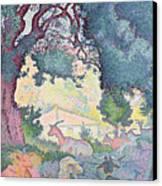 Landscape With Goats Canvas Print by Henri-Edmond Cross