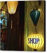 Lanterns At A Gift Shop Entrance Canvas Print by Skip Nall