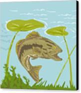 Largemouth Bass Fish Swimming Underwater  Canvas Print by Aloysius Patrimonio