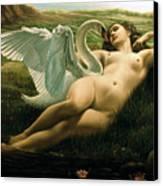 Leda And The Swan - Sensual Canvas Print by Giovanni Rapiti