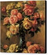 Les Roses Dans Un Vase Canvas Print by Pierre-Auguste Renoir