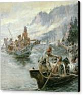Lewis And Clark On The Lower Columbia River Canvas Print by Charles Marion Russell