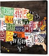 License Plate Map Of The United States - Warm Colors / Black Edition Canvas Print by Design Turnpike