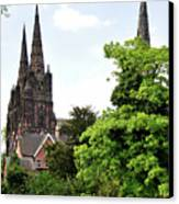 Lichfield Cathedral From Minster Pool Canvas Print by Rod Johnson