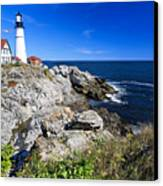 Lighthouse At Cape Elizabeth Canvas Print by George Oze