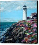 Lighthouse At Flower Point Canvas Print by Jack Skinner