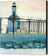 Lighthouse In Michigan City Canvas Print by Lynn Babineau