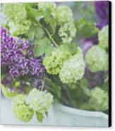 Lilacs And Snowballs Canvas Print by Rebecca Cozart
