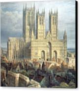 Lincoln Cathedral From The North West Canvas Print by Frederick Mackenzie