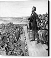 Lincoln Delivering The Gettysburg Address Canvas Print by War Is Hell Store