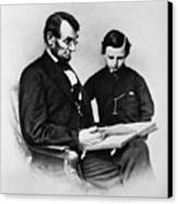 Lincoln Reading To His Son Canvas Print by Photo Researchers