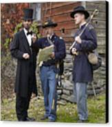 Lincoln With Officers 2 Canvas Print by Ray Downing
