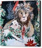 Lion And Lamb Canvas Print by Mindy Newman