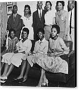 Little Rock Nine And Daisy Bates Posed Canvas Print by Everett