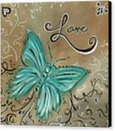 Live And Love Butterfly By Madart Canvas Print by Megan Duncanson