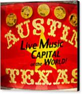 Live Music Mural Of Austin Canvas Print by Andrew Nourse