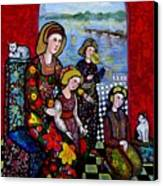 Liz Combing Madeline In Portsmouth Canvas Print by Marilene Sawaf