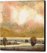Lo Stagno Sotto Al Cielo Canvas Print by Guido Borelli