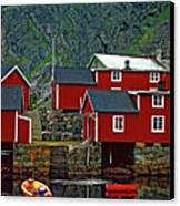 Lofoten Fishing Huts Oil Canvas Print by Steve Harrington