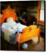 Log Cabin Bedroom Canvas Print by Perry Webster