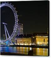 London Eye At Night Canvas Print by Clarence Holmes